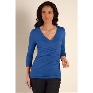 Soft Surroundings Stretch Wrap Top Blouse M